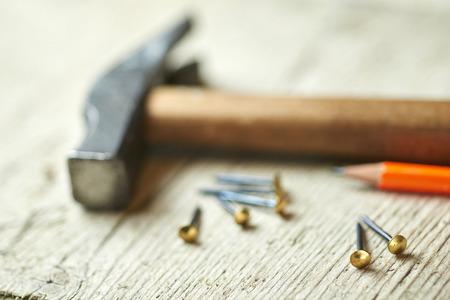 nails: hammer and nails Stock Photo