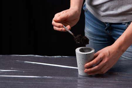 woman planting succulent in concrete pot. Ecology concept