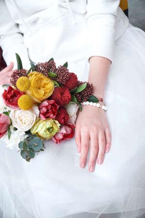 bride in sports sweater. bride in sportswear. Stock fotó