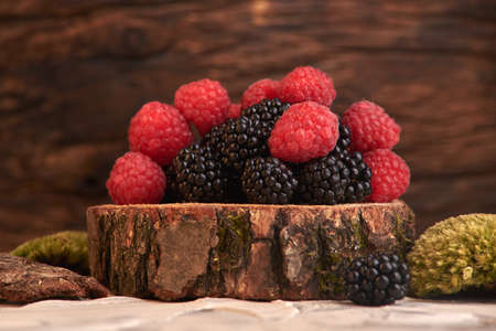 Blackberry on Wooden Background delicious fresh healthy and nutritious food