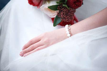 bride in sports sweater. bride in sportswear. Imagens