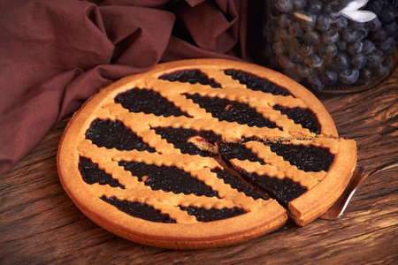 delicious blueberry pie. nutritious home baking. piece of cake Blueberry pie