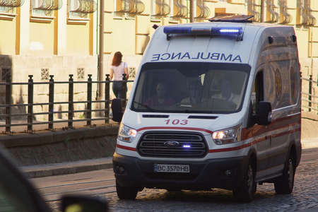 Lviv, Ukraine - July 13, 2019: the ambulance rides the streets of the city