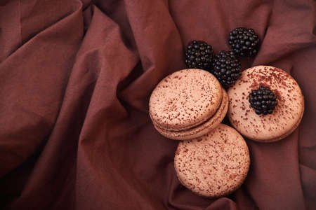 fresh and delicious blackberries with chocolate macaroni on fabric