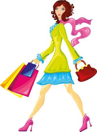 shopaholics: elegant woman with shopping bags