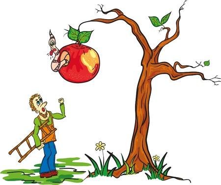 gardener fighting worm funny illustration