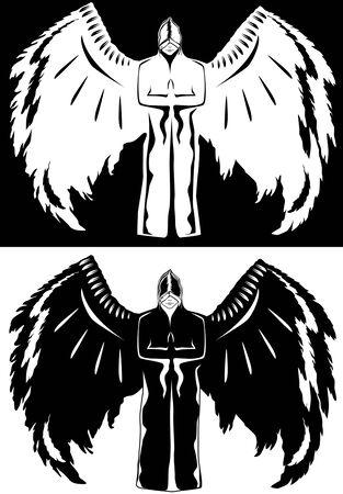 oppos: Ange noir et blanc en couleurs oppos�es Illustration
