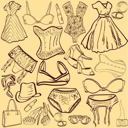 vrouw ondergoed: retro stijl artistieke vrouw ondergoed en kleding Stock Illustratie