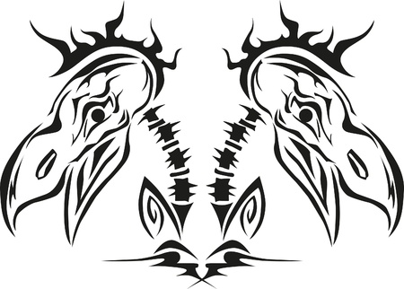 stylized bird skull of hawk, eagle Vector