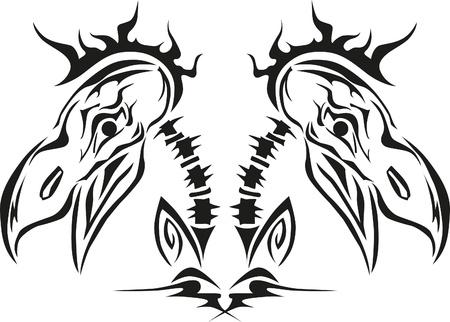 stylized bird skull of hawk, eagle