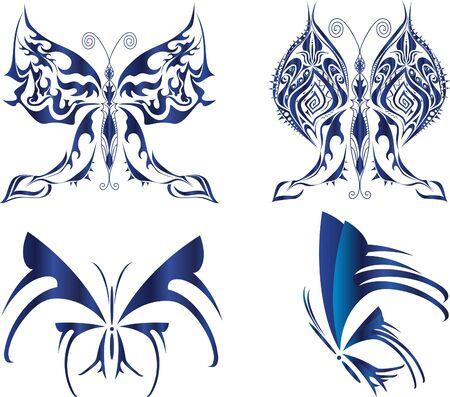 tatto: four blue butterflies pattern for design Illustration