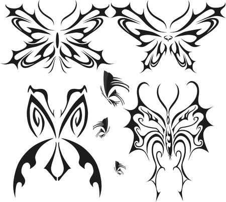 Butterfly tattoo set with different butterflies Vettoriali