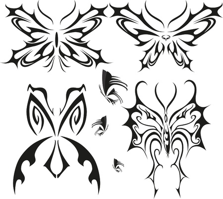 pagan: Butterfly tattoo set with different butterflies Illustration