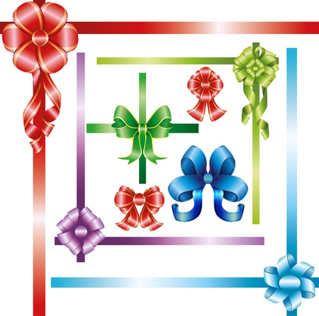 twiddle: bow set with ribbons in different colors Illustration
