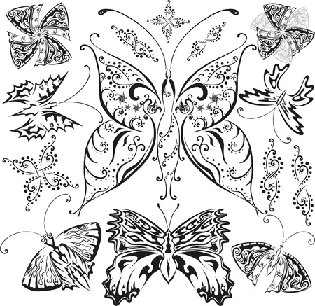 Butterflies set with flowers and decorative elements Illustration