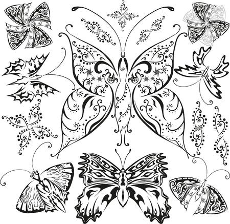 pohanský: Motýli sada s květinami a dekorativními prvky Ilustrace