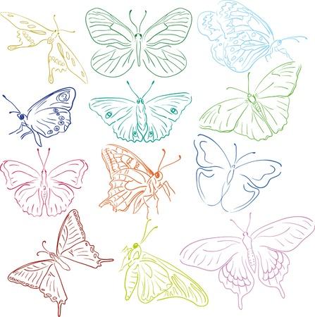 pohanský: nastínit multicilored motýly solhouettes pro konstrukci Ilustrace