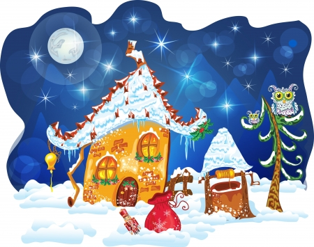 christmas winter house Vector