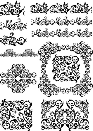 mendi: antique floral abstract frames, borders, brushes