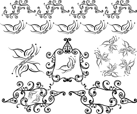 artistic curled frames,borders,brushes Vector