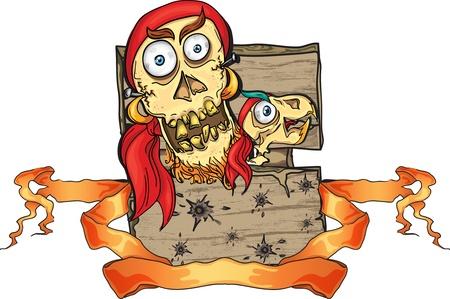 facia: crazy pirate skull on the wooden board