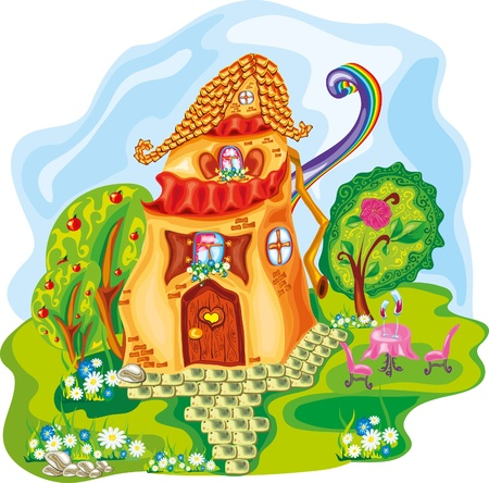 cottage garden: cute cartoon colorful house with rainbow Illustration