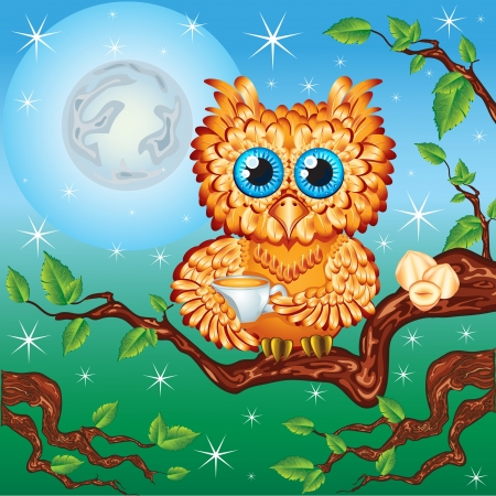cute owl drinks tea at midnight time Vector