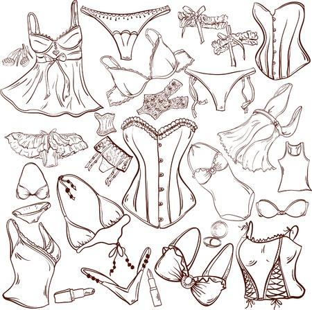 vrouw ondergoed: lingerie - vrouw ondergoed voor modeontwerp Stock Illustratie