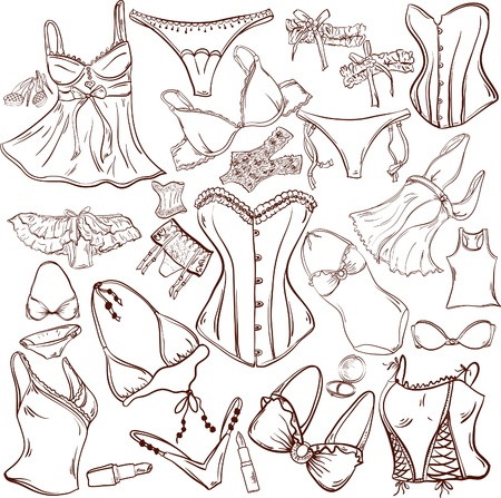 lingerie - woman underwear for fashion design Vector