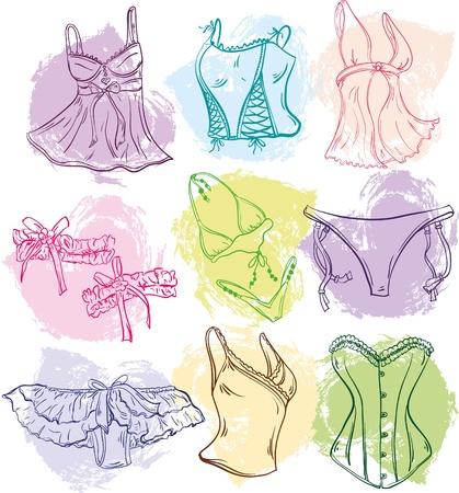 g string: set of creative woman underwear for design