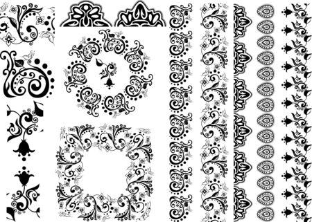 indian pattern: floral design borders, brushes