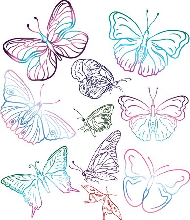 colorful butterflies silhouttes Vector