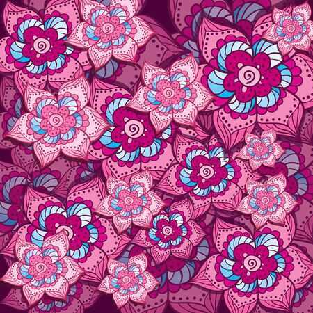 doodle colorful abstract floral background Vector