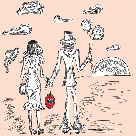 couple in love artistic background Vector