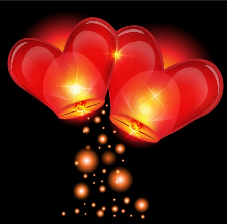 red love heart with flames: lantern heart shape