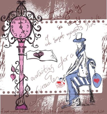 awaiting: hombre que espera a su amada bajo el reloj