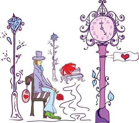 awaiting: hombre en el amor, en una fecha Vectores