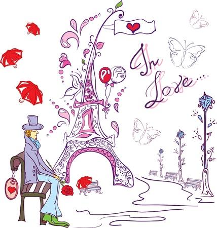 awaiting: hombre de tarjeta del d�a de San Valent�n amor Vectores
