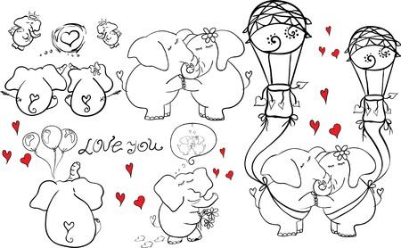 outline doodle childlike elephants couple in love Stock Vector - 17740246