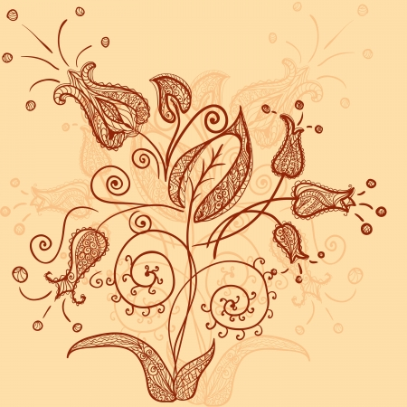 henna indian style flowers pattern Illustration