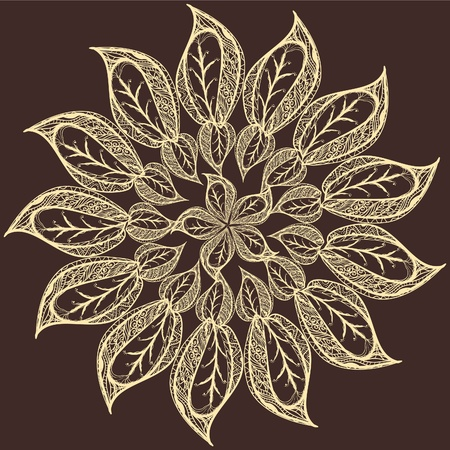 henna ornate circle abstract flower Vector