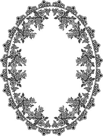 roses ornate border, floral frame Illustration