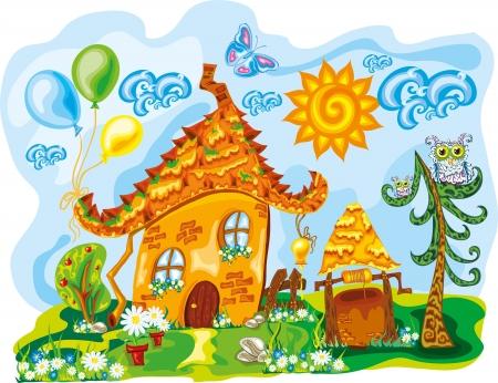 fairy house in bright cute dreamworld Vector