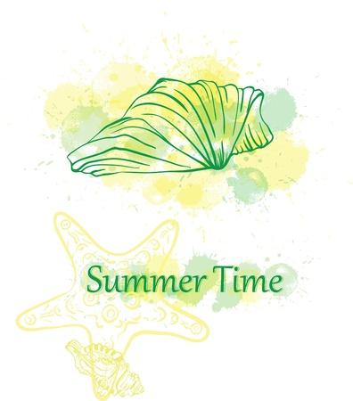 oceanic: seashell summer green background Illustration