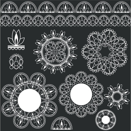 ornamentation: set of lacy decorative elements for design