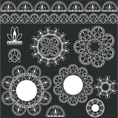 mendi: set of lacy decorative elements for design
