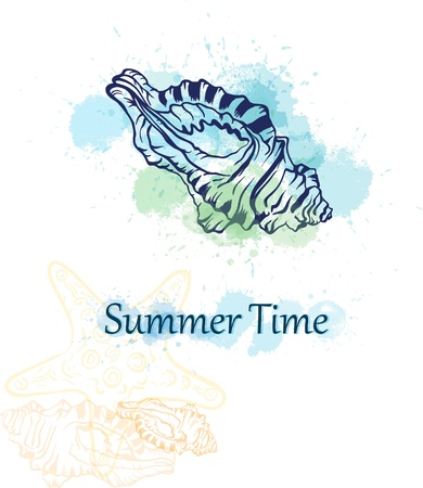 oceanic: summer time background with seashell and colorful ink splashes