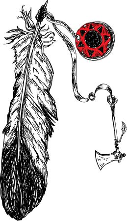 american tomahawk: indian feather with tomahawk weapon Illustration