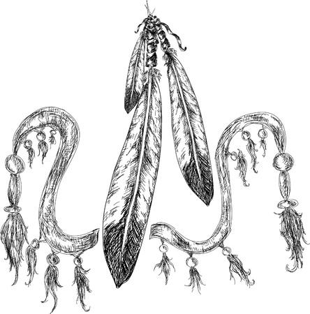 native indian: plumas de indio Vectores