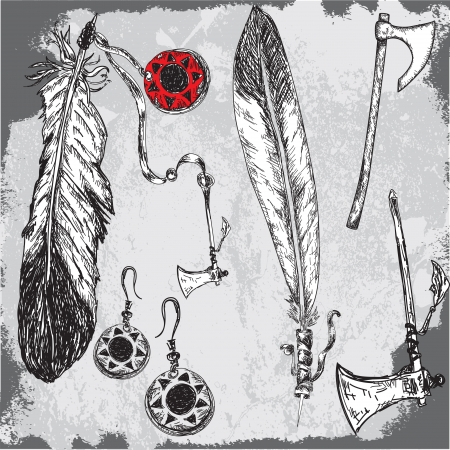 native indians feathers and other traditional elements Vector